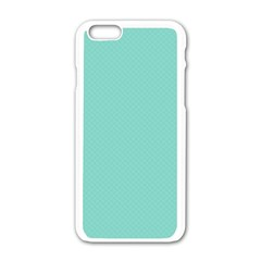 Tiffany Aqua Blue Puffy Quilted Pattern Apple Iphone 6/6s White Enamel Case by PodArtist