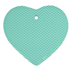 Tiffany Aqua Blue Chevron Zig Zag Ornament (heart) by PodArtist