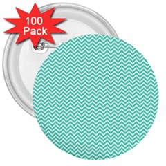 Tiffany Aqua Blue Chevron Zig Zag 3  Buttons (100 Pack)  by PodArtist