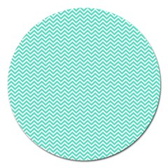 Tiffany Aqua Blue Chevron Zig Zag Magnet 5  (round) by PodArtist