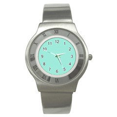 Tiffany Aqua Blue Chevron Zig Zag Stainless Steel Watch by PodArtist