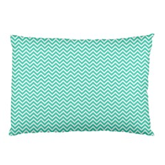Tiffany Aqua Blue Chevron Zig Zag Pillow Case by PodArtist