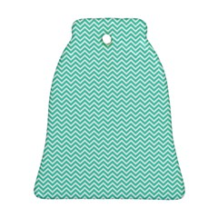 Tiffany Aqua Blue Chevron Zig Zag Ornament (bell) by PodArtist