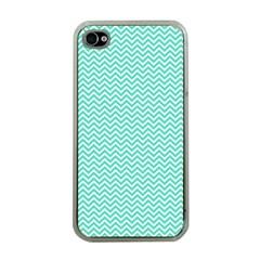 Tiffany Aqua Blue Chevron Zig Zag Apple Iphone 4 Case (clear) by PodArtist