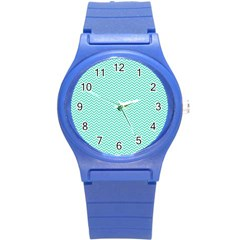 Tiffany Aqua Blue Chevron Zig Zag Round Plastic Sport Watch (s) by PodArtist