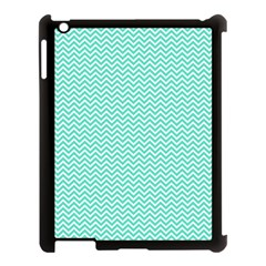 Tiffany Aqua Blue Chevron Zig Zag Apple Ipad 3/4 Case (black) by PodArtist