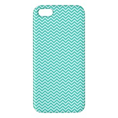 Tiffany Aqua Blue Chevron Zig Zag Apple Iphone 5 Premium Hardshell Case by PodArtist