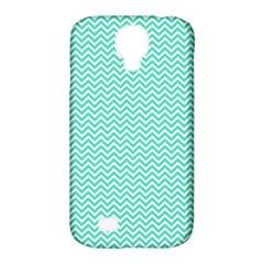 Tiffany Aqua Blue Chevron Zig Zag Samsung Galaxy S4 Classic Hardshell Case (pc+silicone) by PodArtist