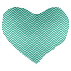 Tiffany Aqua Blue Chevron Zig Zag Large 19  Premium Flano Heart Shape Cushions by PodArtist