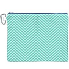 Tiffany Aqua Blue Chevron Zig Zag Canvas Cosmetic Bag (xxxl) by PodArtist