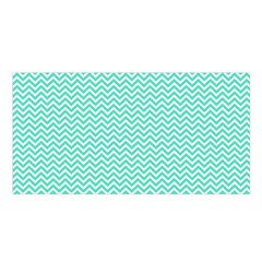 Tiffany Aqua Blue Chevron Zig Zag Satin Shawl by PodArtist