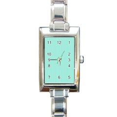 Classy Tiffany Aqua Blue Sailor Stripes Rectangle Italian Charm Watch by PodArtist
