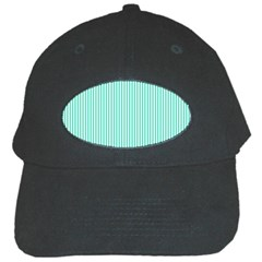 Classy Tiffany Aqua Blue Sailor Stripes Black Cap