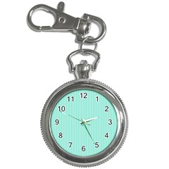 Classy Tiffany Aqua Blue Sailor Stripes Key Chain Watches by PodArtist