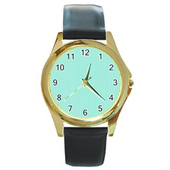 Classy Tiffany Aqua Blue Sailor Stripes Round Gold Metal Watch by PodArtist