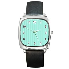 Classy Tiffany Aqua Blue Sailor Stripes Square Metal Watch by PodArtist