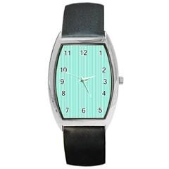 Classy Tiffany Aqua Blue Sailor Stripes Barrel Style Metal Watch by PodArtist