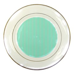 Classy Tiffany Aqua Blue Sailor Stripes Porcelain Plates by PodArtist