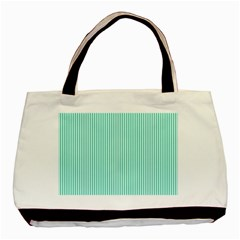 Classy Tiffany Aqua Blue Sailor Stripes Basic Tote Bag by PodArtist