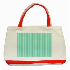 Classy Tiffany Aqua Blue Sailor Stripes Classic Tote Bag (red) by PodArtist