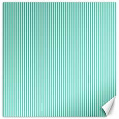 Classy Tiffany Aqua Blue Sailor Stripes Canvas 20  X 20   by PodArtist