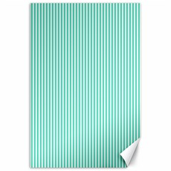 Classy Tiffany Aqua Blue Sailor Stripes Canvas 24  X 36  by PodArtist