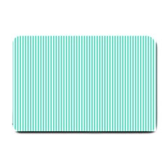 Classy Tiffany Aqua Blue Sailor Stripes Small Doormat  by PodArtist