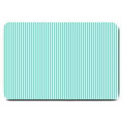 Classy Tiffany Aqua Blue Sailor Stripes Large Doormat  by PodArtist