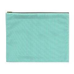 Classy Tiffany Aqua Blue Sailor Stripes Cosmetic Bag (xl) by PodArtist