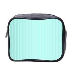 Classy Tiffany Aqua Blue Sailor Stripes Mini Toiletries Bag 2 Side by PodArtist
