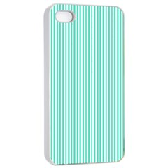 Classy Tiffany Aqua Blue Sailor Stripes Apple Iphone 4/4s Seamless Case (white) by PodArtist
