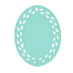 Classy Tiffany Aqua Blue Sailor Stripes Ornament (oval Filigree) by PodArtist