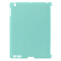 Classy Tiffany Aqua Blue Sailor Stripes Apple Ipad 3/4 Hardshell Case (compatible With Smart Cover) by PodArtist