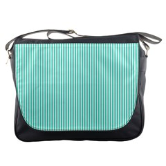 Classy Tiffany Aqua Blue Sailor Stripes Messenger Bags by PodArtist