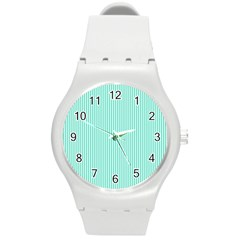 Classy Tiffany Aqua Blue Sailor Stripes Round Plastic Sport Watch (m) by PodArtist