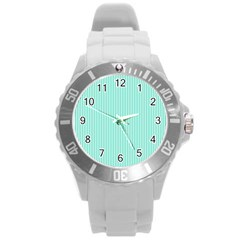 Classy Tiffany Aqua Blue Sailor Stripes Round Plastic Sport Watch (l) by PodArtist