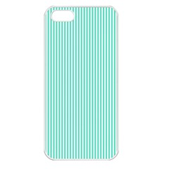Classy Tiffany Aqua Blue Sailor Stripes Apple Iphone 5 Seamless Case (white) by PodArtist