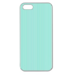 Classy Tiffany Aqua Blue Sailor Stripes Apple Seamless Iphone 5 Case (clear) by PodArtist