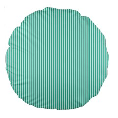 Classy Tiffany Aqua Blue Sailor Stripes Large 18  Premium Round Cushions by PodArtist