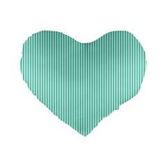 Classy Tiffany Aqua Blue Sailor Stripes Standard 16  Premium Heart Shape Cushions by PodArtist