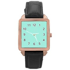 Classy Tiffany Aqua Blue Sailor Stripes Rose Gold Leather Watch  by PodArtist