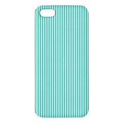 Classy Tiffany Aqua Blue Sailor Stripes Apple Iphone 5 Premium Hardshell Case by PodArtist