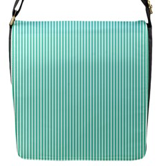 Classy Tiffany Aqua Blue Sailor Stripes Flap Messenger Bag (s) by PodArtist