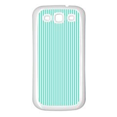 Classy Tiffany Aqua Blue Sailor Stripes Samsung Galaxy S3 Back Case (white) by PodArtist