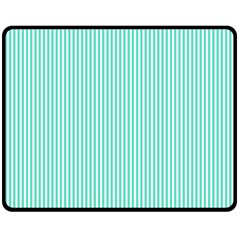 Classy Tiffany Aqua Blue Sailor Stripes Double Sided Fleece Blanket (medium)  by PodArtist