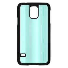 Classy Tiffany Aqua Blue Sailor Stripes Samsung Galaxy S5 Case (black) by PodArtist