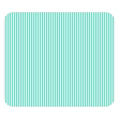 Classy Tiffany Aqua Blue Sailor Stripes Double Sided Flano Blanket (small)  by PodArtist