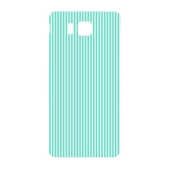 Classy Tiffany Aqua Blue Sailor Stripes Samsung Galaxy Alpha Hardshell Back Case by PodArtist