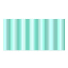Classy Tiffany Aqua Blue Sailor Stripes Satin Shawl by PodArtist