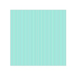 Classy Tiffany Aqua Blue Sailor Stripes Small Satin Scarf (square) by PodArtist
